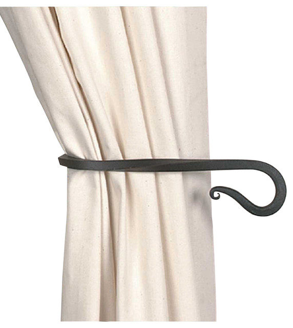 tie backs black wrought iron curtain tie back 9 long traditional window treatment. Black Bedroom Furniture Sets. Home Design Ideas