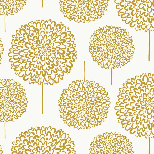 Hydrangea Wallpaper Gold Roll Contemporary Wallpaper