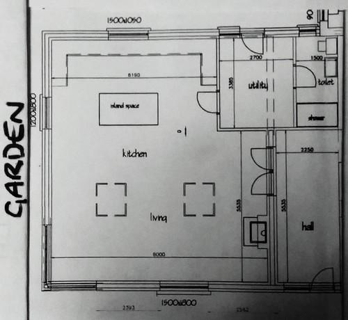 Open plan kitchen living dining for Kitchen design 07631