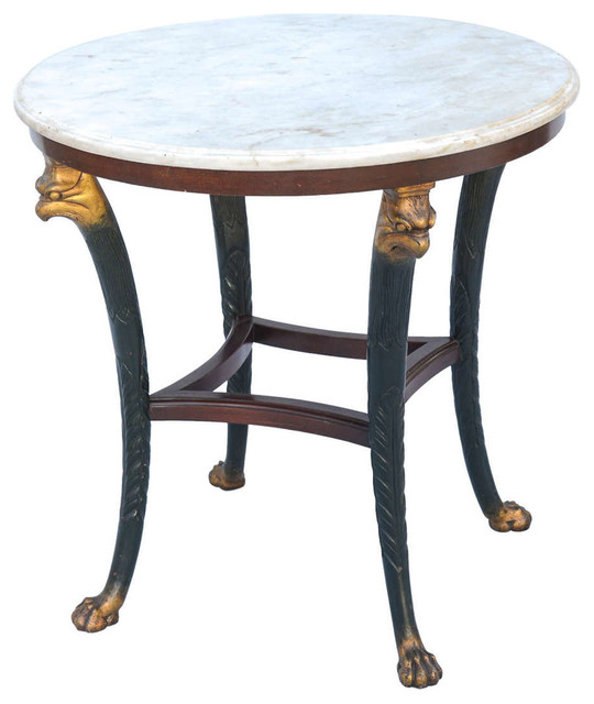 Marble And Carved Wood Accent Table: Carved Round Accent Table With Marble Top