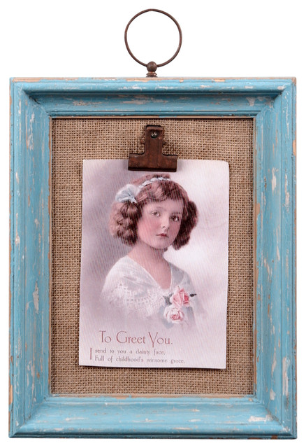 Distressed Light Blue Wall Photo Clip Frame Rustic