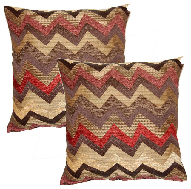 Traffic Burgundy 17-in Throw Pillows (Set of 2) - Contemporary - Decorative Pillows - by ...