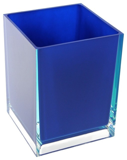 Free standing waste basket with no cover in blue finish for Covered bathroom wastebasket