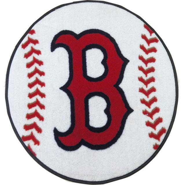 MLB Boston Red Sox Baseball Round Rug Contemporary-rugs