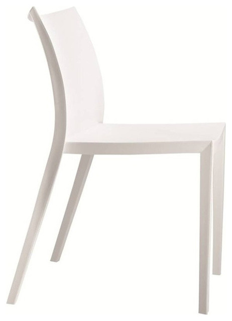 Angles plastic dining chair white contemporary dining for Contemporary plastic dining chairs