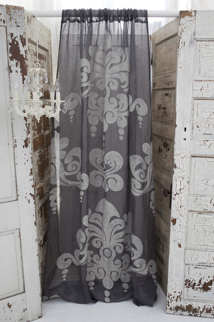 Couture dreams enchantique slate grey linen gauze panels curtains other metro by couture - Epic window treatment decoration with slate blue curtain ...