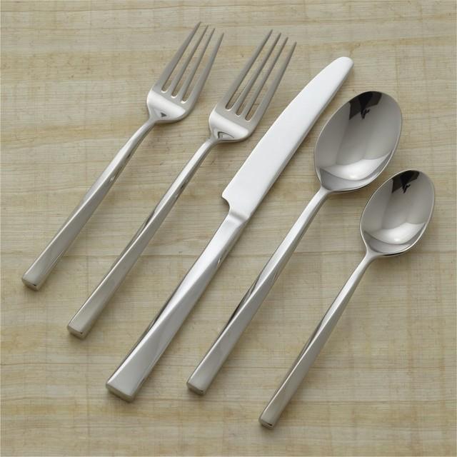 Twist 20 piece flatware set modern flatware and silverware sets - Twisted silverware ...