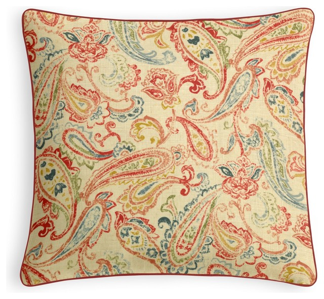 Red Paisley Outdoor Pillows 50