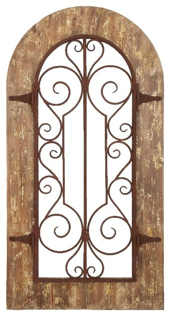Rustic Arch Wall Decor : Arch shape wood metal wall panel stately includes scroll