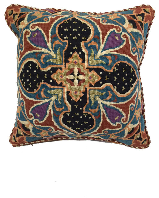 Decorative Jeweled Pillows : Jewel Tone Needle Point Pillow Accented With Gold - Mediterranean - Decorative Pillows - by ...