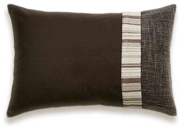Dark Chocolate Brown Beige Stripe Lumbar Decorative Throw