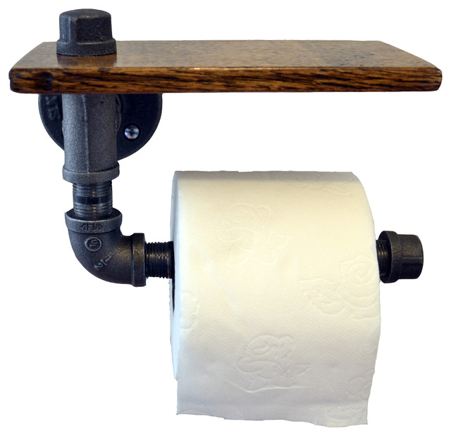 Reclaimed wood and pipe toilet paper holder rustic Wood toilet paper holders