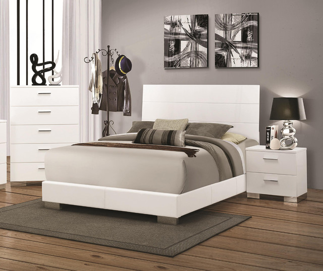 Coaster Felicity High Gloss White Queen Bed With Slat