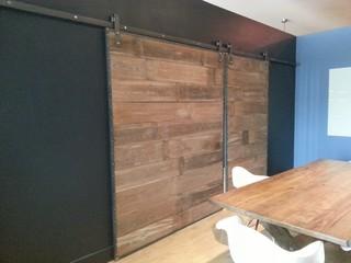 Barn Wood Sliding Doors In Steel Frame Contemporary
