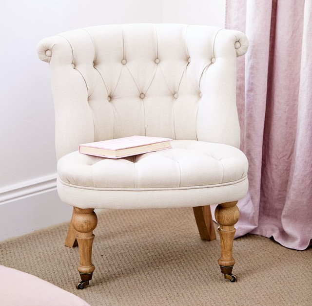 Small Linen Buttoned Chair Traditional Armchairs And Accent Chairs Sydn
