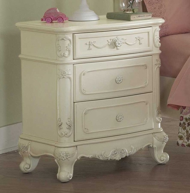 Elegant White Night Stand Traditional Nightstands And