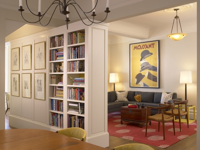 living room and bookcase traditional dining room san