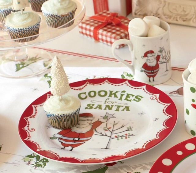 Santa Ceramic Cookie Plate Amp Mug Set Contemporary