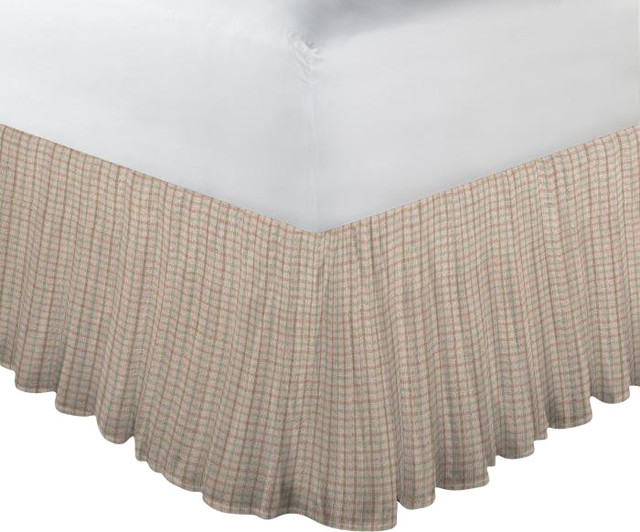 Brown Light Checks Fabric Dust Ruffle Queen Farmhouse Bedskirts By Patch Magic