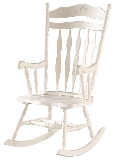White Embossed Back Solid Wood Rocking Chair Farmhouse Rocking Chairs