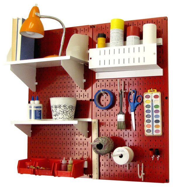 Pegboard Organizer Storage Kit, Red Pegboard and White Accessories - Contemporary - Garage And ...