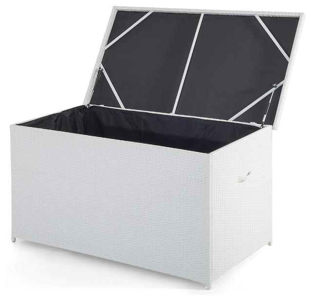 Rattan Garden Storage Box White Modena Modern Outdoor