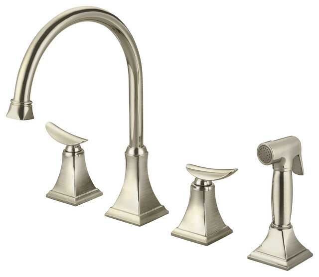 Two Handle Kitchen Widespread Faucet With Spray, Brushed