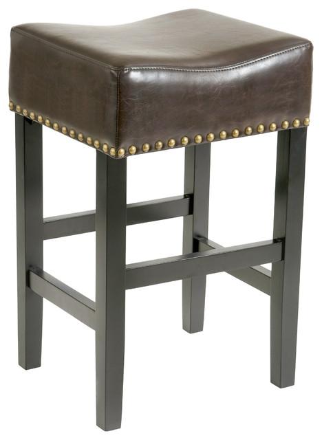 Carmen Backless Leather Bar Stool Set Of 2 Brown
