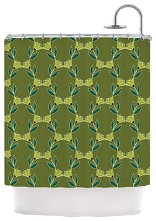 Holly Helgeson Flora Vine Olive Green Shower Curtain Contemporary Shower Curtains By