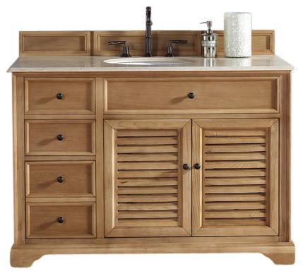 Savannah 48 Single Vanity Cabinet Natural Oak Beach Style Bathroom Vanities And Sink