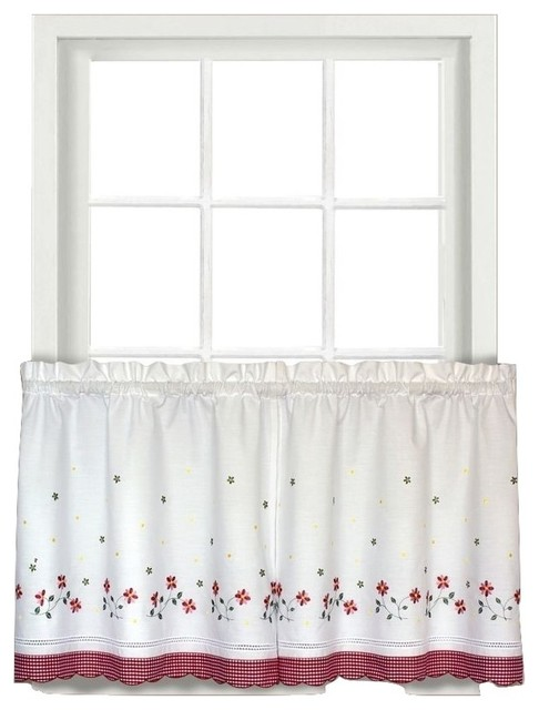 gingham floral kitchen curtain 24 quot tier traditional