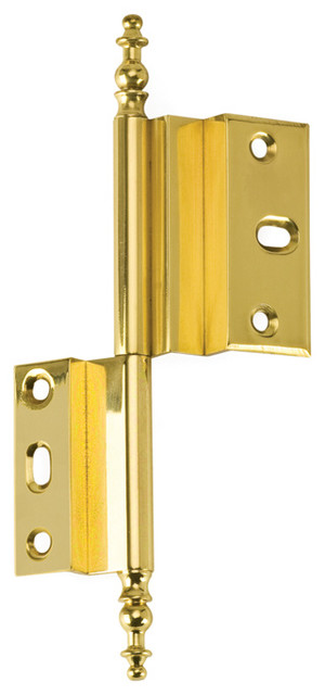 "AHO-PB polished brass 3/8"" offset armoire hinge - Traditional - Hinges ..."