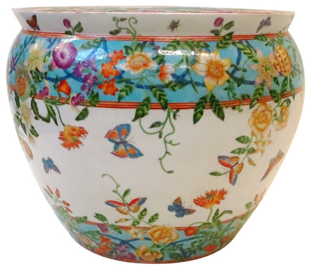 Butterfly garden chinese porcelain fish bowl 14 indoor for Chinese fish bowl planter