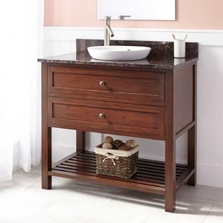 36 taren bamboo vanity for semi recessed sink light for Modern bamboo bathroom vanity