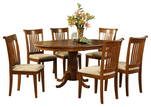 pc dining room set oval dining table with leaf and 6 dining chairs