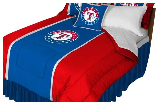 Mlb Texas Rangers Sidelines Comforter And Sheet Set Combo