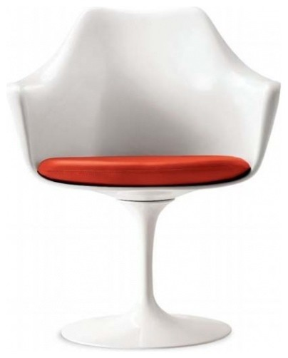 Tulip arm chair in modena red leather modern dining for Modern dining chairs vancouver