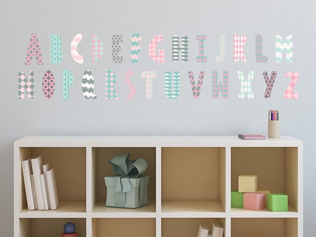 Modern alphabet fabric wall decals in pink grey and for Modern kids fabric
