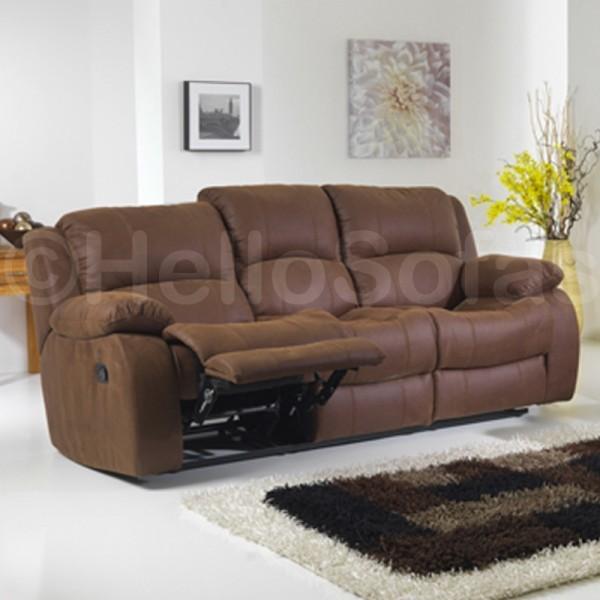 Evolution Fabric Recliner Sofa 3 2 In Brown Modern