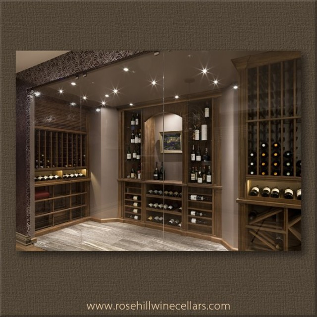 Custom Walnut Wine Cellar With Tasting Niche