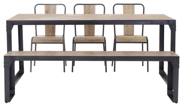 Industrial Dining Table Set: Brunel Industrial Dining Set With Chairs And Benches