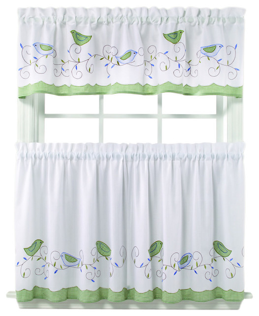 ... Curtain Tiers and Valance Set - Contemporary - Curtains - by Overstock