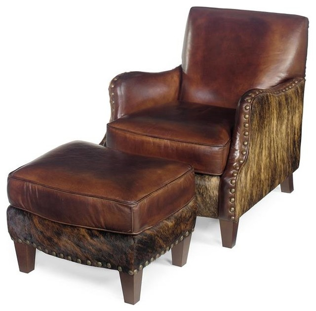 Rustic Leather Club Chair And Ottoman Rustic Living Room Chairs