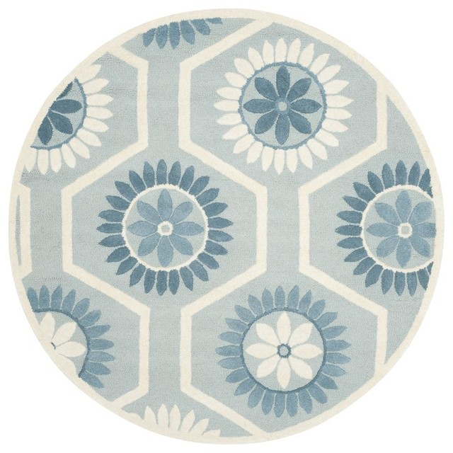 Round rug in blue and ivory contemporary area rugs for Round contemporary area rugs