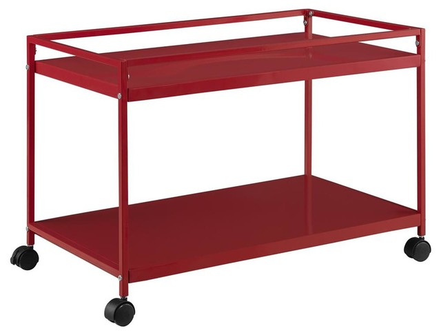 Rolling coffee table cart in red finish contemporary for Coffee carts for office