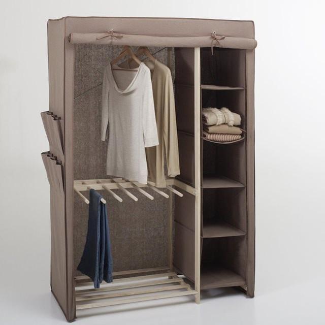 armoire de rangement tissu 1 3 ling re 2 3 pende. Black Bedroom Furniture Sets. Home Design Ideas