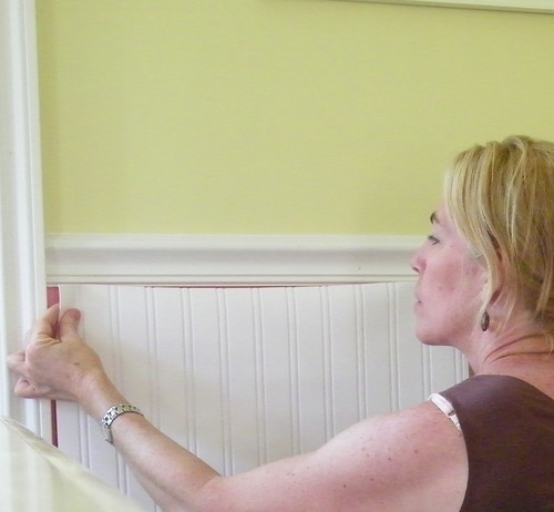 Whoa wainscoting wallpaper ooh do you think that39s for Water resistant wainscoting for bathroom