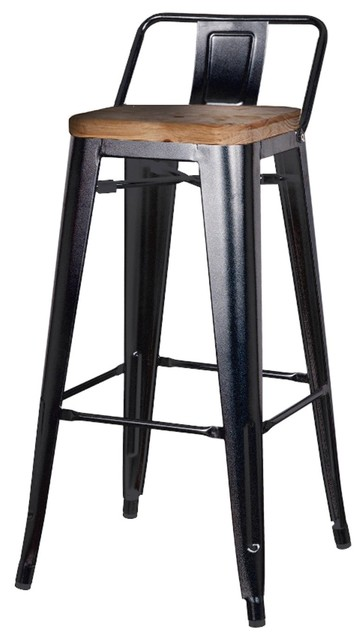 Metropolis Low Back Bar Stool With Wood Seat Black Set