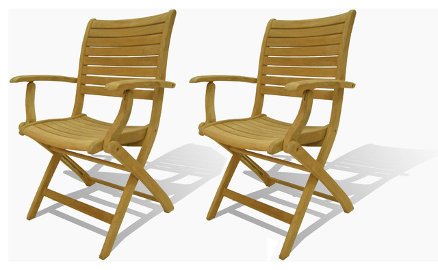Dublin Teak Folding Armchairs Set Of 2 Modern Outdoor Folding Chairs By Michael Anthony