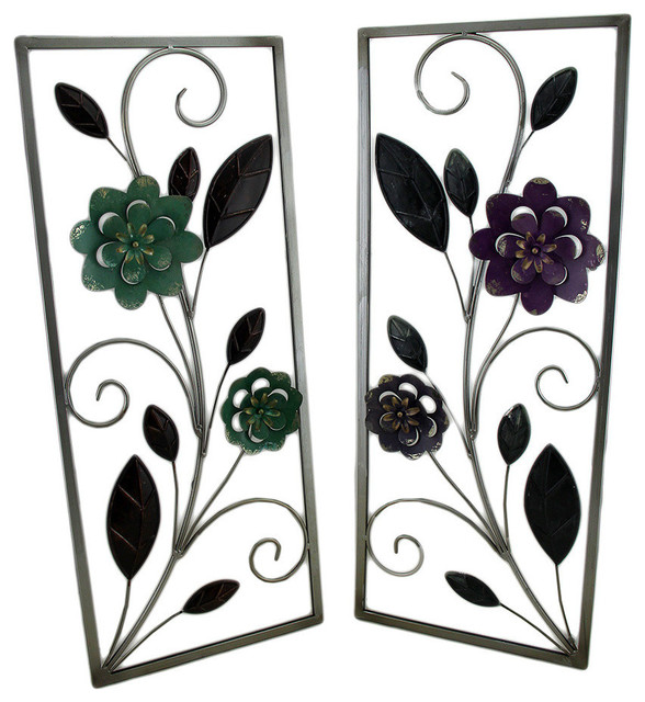 Lavender And Turquoise Metal Flower Wall Sculptures, 2
